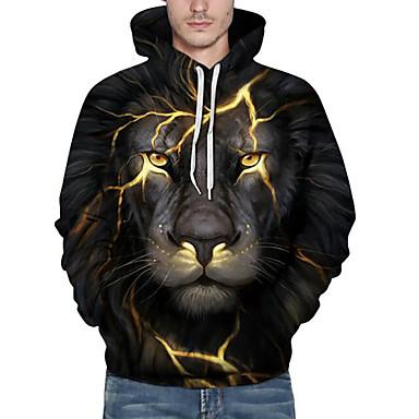 ieftine Îmbrăcăminte la Modă Bărbați-Bărbați Activ Mărime Plus Size Larg Pantaloni - #D / Animal Leu, Imprimeu Negru / Capișon / Manșon Lung / Toamnă / Iarnă
