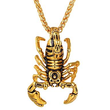 economico Collana-Per uomo Per donna Collane con ciondolo Scorpione Hip-hop Acciaio inossidabile Oro Argento Collana Gioielli 1 Per Quotidiano Costumi Cosplay