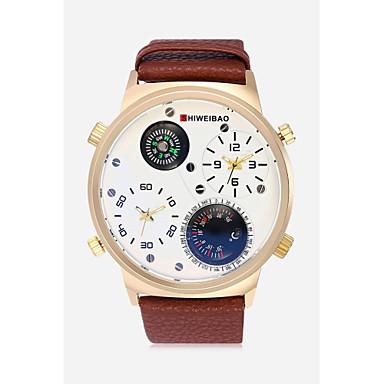 Недорогие Часы на кожаном ремешке-SHI WEI BAO Муж. Спортивные часы Армейские часы Кварцевый Кожа Черный / Коричневый / Тёмно-зелёный Термометр Компас С двумя часовыми поясами Аналоговый На каждый день Мода -  / Один год / SSUO 377