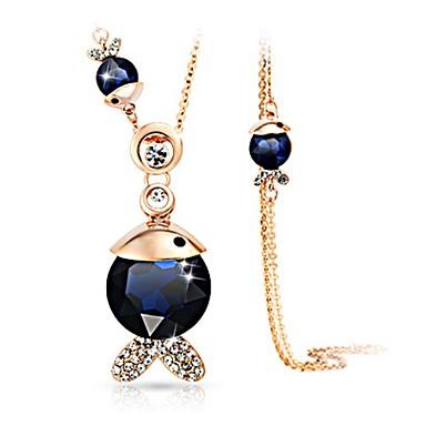 billige Mode Halskæde-Dame Krystal Halskædevedhæng Krystal Simuleret diamant Fisk Damer Klassisk Mode Mørkeblå Mørkegrå Halskæder Smykker 1 Til Daglig
