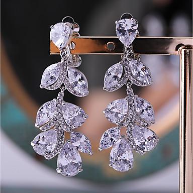 ec032b757 cheap Earrings-Women's Cubic Zirconia Stud Earrings Silver Plated Earrings  Leaf · Women's ...