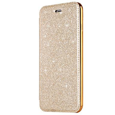 voordelige iPhone 5 hoesjes-hoesje Voor Apple iPhone X / iPhone 8 Plus / iPhone 8 Kaarthouder / Beplating / Flip Volledig hoesje Effen Hard PU-nahka