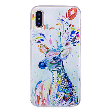 abordables Coques pour iPhone 5-Coque Pour Apple iPhone X / iPhone 8 IMD / Motif Coque Animal Flexible TPU pour iPhone X / iPhone 8 Plus / iPhone 8