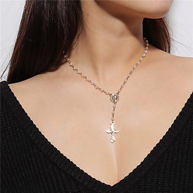 preiswerte Halsketten-Damen Pendant Halskette Kreuz Retro Künstliche Perle Aleación Gold Modische Halsketten Schmuck Für Alltag Strasse