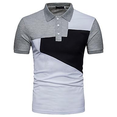 economico Abbigliamento uomo-Polo Per uomo Attivo Basic, Monocolore Colletto In bianco e nero Bianco L / Manica corta / Estate / Taglia piccola