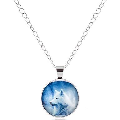 preiswerte Halsketten-Damen Pendant Halskette Tier Wolf damas Glas Metal Aleación Silber Modische Halsketten Schmuck 1 Für Abschluss Abiball