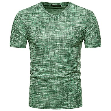 economico Abbigliamento uomo-T-shirt Per uomo Essenziale / Moda città Tinta unita A V Marrone L / Manica corta / Primavera / Estate / Taglia piccola