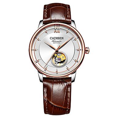 levne Pánské-CADISEN Pánské Módní hodinky Hodinky k šatům mechanické hodinky japonština Automatické natahování Pravá kůže Hnědá / Námořnická modř 50 m Voděodolné Hodinky na běžné nošení Analogové Klasické Módn