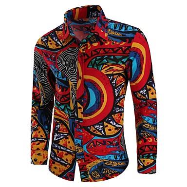 billige Herrers Mode Beklædning-Spredt krave Herre - Tribal Bomuld, Trykt mønster Vintage / Boheme Plusstørrelser Skjorte Rød XXL / Langærmet