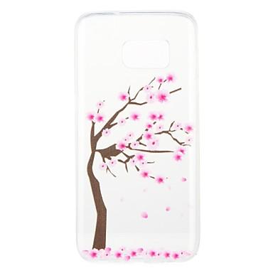 Недорогие Чехлы и кейсы для Galaxy S6-Кейс для Назначение SSamsung Galaxy S8 Plus / S8 / S7 edge С узором Кейс на заднюю панель дерево / Цветы Мягкий ТПУ