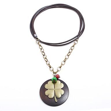 1d6e61257 Dámské Dlouhé Náhrdelníky s přívěšky dlouhý náhrdelník Dřevěný Květiny  Kytky Trávová zelená dámy Vintage Velkoformátové Afričan Hnědá Náhrdelníky  Šperky 1 ...