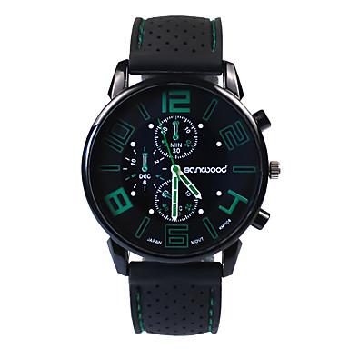 Erkek Moda Saat Japonca Quartz 30 m Gündelik Saatler Silikon Bant Analog İhtişam Siyah - Kırmzı Yeşil Mavi Bir yıl Pil Ömrü