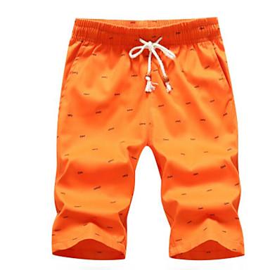 billige Herrers Mode Beklædning-Herre Bomuld Løstsiddende Shorts Bukser - Trykt mønster Sort