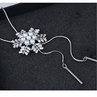 billige Mode Halskæde-Dame Halskædevedhæng lang halskæde Sneflage Europæisk Mode Sølv 70 cm Halskæder Smykker Til Fest