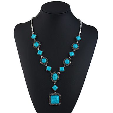 cheap Necklaces-Turquoise Y Necklace Long Necklace Ladies Ethnic Fashion Elizabeth Locke Turquoise 69.8+5.5 cm Necklace Jewelry For Holiday Going out