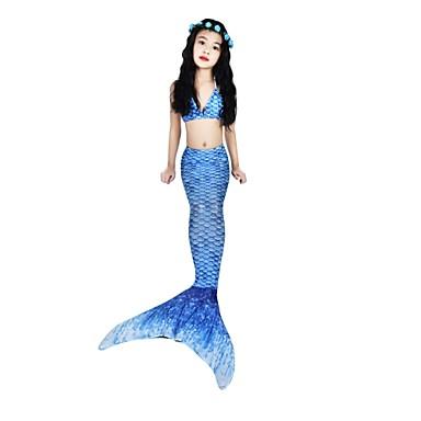 The Little Mermaid Aqua Princess Costume de Baie Bikini Pentru copii Fete Vintage Cute Stil Halloween Carnaval Zuia Copiilor Festival / Sărbătoare Elastan Tactel Albastru Costume de Carnaval Sirenă