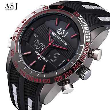 Χαμηλού Κόστους Ανδρικά ρολόγια-ASJ Ανδρικά Αθλητικό Ρολόι Μοδάτο Ρολόι Ψηφιακό ρολόι Ιαπωνικά Ψηφιακή Συνθετικό δέρμα με επένδυση Μαύρο 30 m Ανθεκτικό στο Νερό Συναγερμός Χρονογράφος Αναλογικό-Ψηφιακό Λευκό Κόκκινο Μπλε / SSUO 377