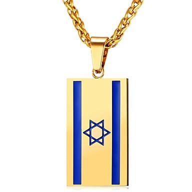 billige Mode Halskæde-Herre Dame Halskædevedhæng Rustfrit Stål Flag Mode Guld Sølv 55 cm Halskæder Smykker Til Daglig