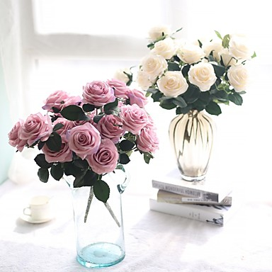 Künstliche Blumen 1 Ast Hochzeitsblumen Pastoralen Stil Rosen Tisch-Blumen