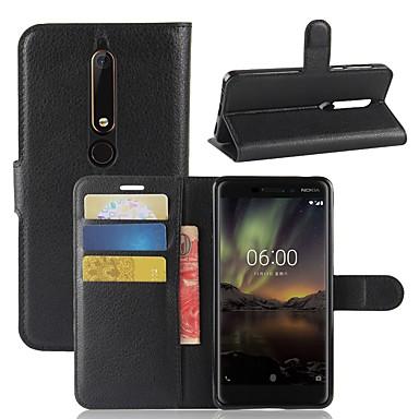 halpa Nokia kotelot / kuoret-Etui Käyttötarkoitus Nokia Nokia 7 Plus / Nokia 6 2018 Lomapkko / Korttikotelo / Flip Suojakuori Yhtenäinen Kova PU-nahka varten Nokia 9 / Nokia 8 / Nokia 7