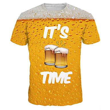 baratos Roupa de Homem Moderna-Homens Tamanhos Grandes Camiseta Básico / Exagerado Estampado, Gráfico / Letra Decote Redondo Amarelo XL / Manga Curta / Verão
