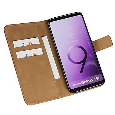 Недорогие Чехлы и кейсы для Galaxy S3 Mini-Кейс для Назначение SSamsung Galaxy S9 / S9 Plus / S8 Plus Кошелек / Бумажник для карт / Флип Чехол Однотонный Твердый Кожа PU
