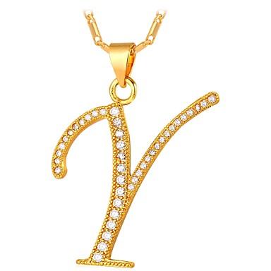 billige Mode Halskæde-Kvadratisk Zirconium lille diamant Monogrammer Navn Halskædevedhæng Guldbelagt Damer Mode Guld Sølv 55 cm Halskæder Smykker Til Daglig