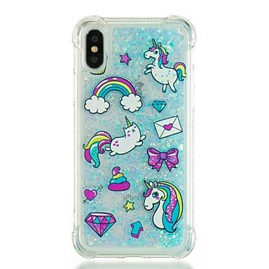 disegno cascata Per X urti iPhone iPhone Fantasia 8 Apple a Glitterato Per agli retro Unicorno Resistente Plus Liquido Custodia 06689640 cWq766