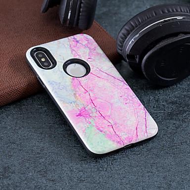 voordelige iPhone 5 hoesjes-hoesje Voor Apple iPhone X / iPhone 8 Plus / iPhone 8 Schokbestendig / Reliëfopdruk / Patroon Achterkant Marmer Hard PC