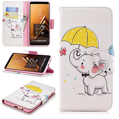 [$7.99] Case For Samsung Galaxy A6+ (2018) / A6 (2018) Wallet / Card Holder / with Stand Full Body Cases Elephant Hard PU Leather for A6 (2018) /