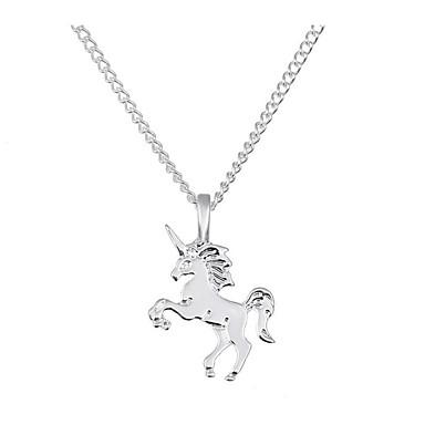 hesapli Moda Kolyeler-Kadın's Uçlu Kolyeler At Unicorn Bayan Klasik Vintage Moda alaşım Altın Gümüş 40 cm Kolyeler Mücevher 1pc Uyumluluk Günlük Ofis ve Kariyer