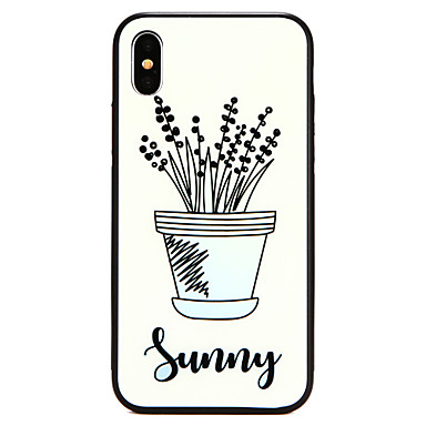 voordelige iPhone X hoesjes-hoesje Voor Apple iPhone X / iPhone 8 Plus / iPhone 8 Patroon Achterkant Planten / Boom / Bloem Hard Gehard glas