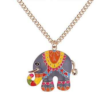 preiswerte Halsketten-Damen Pendant Halskette Lang Elefant damas Retro Zeichentrick Modisch Aleación Gold Silber 62+5 cm Modische Halsketten Schmuck 1pc Für Alltag Schultaschen