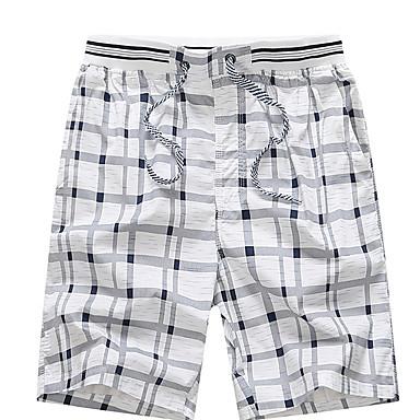 economico Pantaloni da uomo-Per uomo Essenziale Taglie forti Quotidiano Pantaloncini Pantaloni - A scacchi Blu marino Giallo Azzurro XXL XXXL XXXXL / Autunno