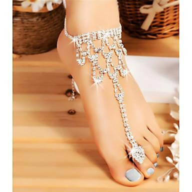 Χαμηλού Κόστους Κοσμήματα σώματος-Γυναικεία Σανδάλια για γυμνό πόδι Πάχος αλυσίδας κυρίες Στυλάτο Κλασσικό Βραχιόλι αστραγάλου Κοσμήματα Ασημί Για Γάμου Μασκάρεμα Πάρτι Αρραβώνων Χοροεσπερίδα Μπικίνι Υπόσχεση / Στρας
