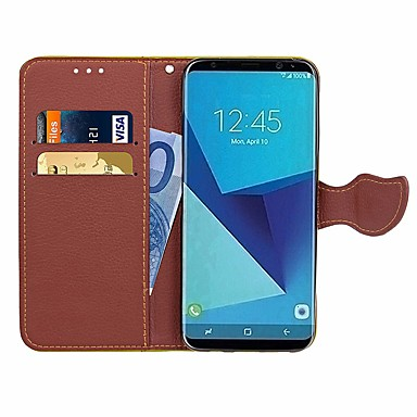Недорогие Чехлы и кейсы для Galaxy S3 Mini-Кейс для Назначение SSamsung Galaxy S7 edge / S7 / S5 Mini Кошелек / Бумажник для карт / Стразы Чехол Однотонный Твердый Кожа PU