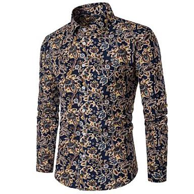 billige Herrers Mode Beklædning-Herre - Prikker Bomuld Forretning Plusstørrelser Skjorte Blå XXL / Langærmet