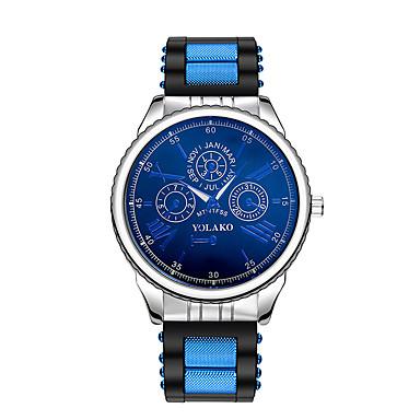 رجالي ساعة المعصم كوارتز سيليكون أسود / أزرق / فضة ساعة كاجوال مماثل كلاسيكي موضة - الذهب / أبيض فضي / أزرق فضي / أحمر
