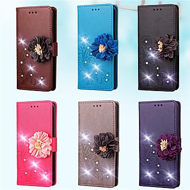 Недорогие Чехлы и кейсы для Galaxy S3 Mini-Кейс для Назначение SSamsung Galaxy S7 edge / S7 / S5 Mini Кошелек / Бумажник для карт / Стразы Чехол Однотонный / Цветы Твердый Кожа PU
