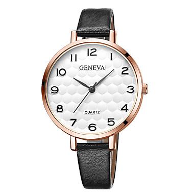Geneva نسائي ساعة المعصم كوارتز جلد أسود / بني تصميم جديد ساعة كاجوال كوول مماثل سيدات كاجوال موضة - أسود / أبيض أبيض / البيج أسود / ذهبي روزي سنة واحدة عمر البطارية