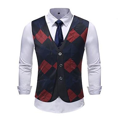 رجالي التقزح اللوني XXXL XXXXL 5XL Vest قياس كبير أساسي ألوان متناوبة V رقبة نحيل / كم قصير / نصف رسمي