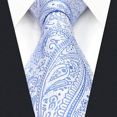 billige Herrers Mode Beklædning-Herre Kontor / Basale Slips Paisley / Jacquard Vævning Blå & Hvid