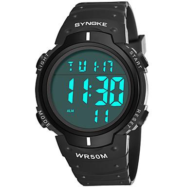 SYNOKE رجالي ساعة رياضية ساعة رقمية رقمي جلد اصطناعي أسود / أزرق 50 m مقاوم للماء رزنامه الكرونوغراف رقمي موضة - رمادي أخضر أزرق / ساعة التوقف / قضية
