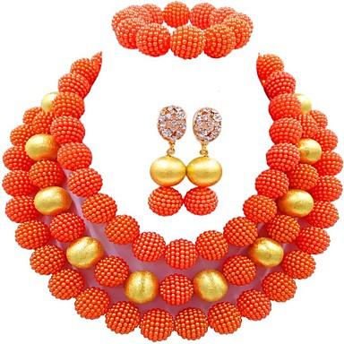 نسائي متعدد الطبقات مجموعة مجوهرات كرة سيدات, موضة تتضمن أساور حبلا أخضر / زهري / زهر فاقع من أجل مناسب للبس اليومي / أقراط