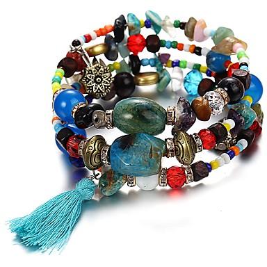 نسائي فيروز عقيقي أساور التفاف متعدد الطبقات سيدات أوروبي أكريليك مجوهرات سوار أخضر / أزرق / زهري من أجل مناسب للبس اليومي