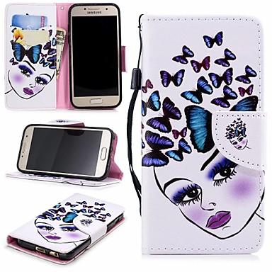 غطاء من أجل Samsung Galaxy A3 (2017) محفظة / حامل البطاقات / مع حامل غطاء كامل للجسم فراشة / امرآة مثيرة قاسي جلد PU