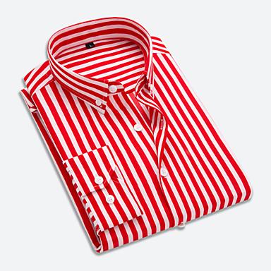economico Abbigliamento uomo-Camicia Per uomo Ufficio Lavoro A strisce Colletto italiano visibile - Cotone Rosso XXXL / Manica lunga