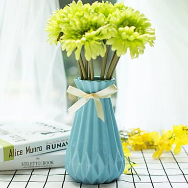 زهور اصطناعية 1 فرع فردي أنيق المزهرية أزهار الطاولة / واحدة زهرية