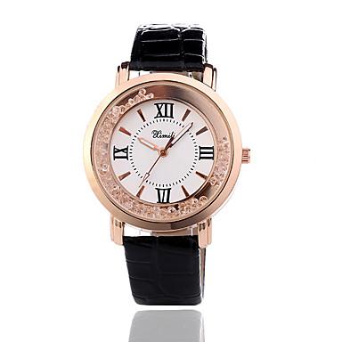 نسائي ساعة المعصم كوارتز جلد أسود / الأبيض / أحمر ساعة كاجوال مماثل سيدات موضة - أسود أحمر زهري