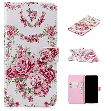 غطاء من أجل Samsung Galaxy A5(2018) / A6 (2018) / A6+ (2018) محفظة / حامل البطاقات / مع حامل غطاء كامل للجسم زهور قاسي جلد PU